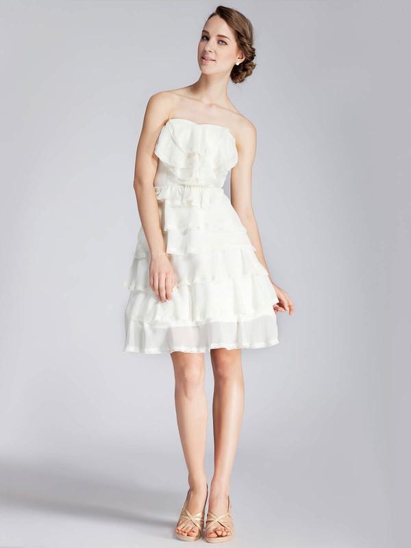 A-line Short/Mini Chiffon Tiered Strapless Bridesmaid Dresses #PWD02013671