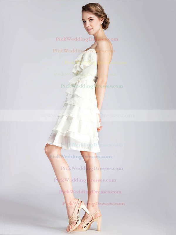 A-line Short/Mini Chiffon Tiered Strapless Bridesmaid Dresses #PWD02013671