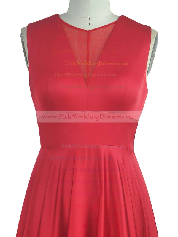 A-line Scoop Neck Silk-like Satin Floor-length with Ruffles Bridesmaid Dresses #PWD010020104297