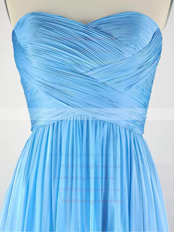 A-line Sweetheart Chiffon Sweep Train with Pleats Bridesmaid Dresses #PWD010020104304