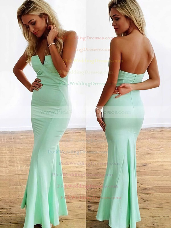 Trumpet/Mermaid Strapless Jersey Ankle-length with Ruffles Bridesmaid Dresses #PWD010020104418