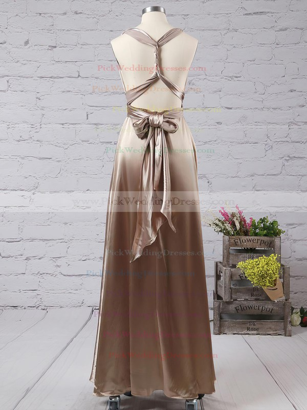 A-line V-neck Silk-like Satin Ankle-length with Ruffles Bridesmaid Dresses #PWD010020104433