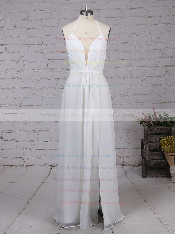 A-line V-neck Chiffon Ankle-length with Split Front Bridesmaid Dresses #PWD010020104497