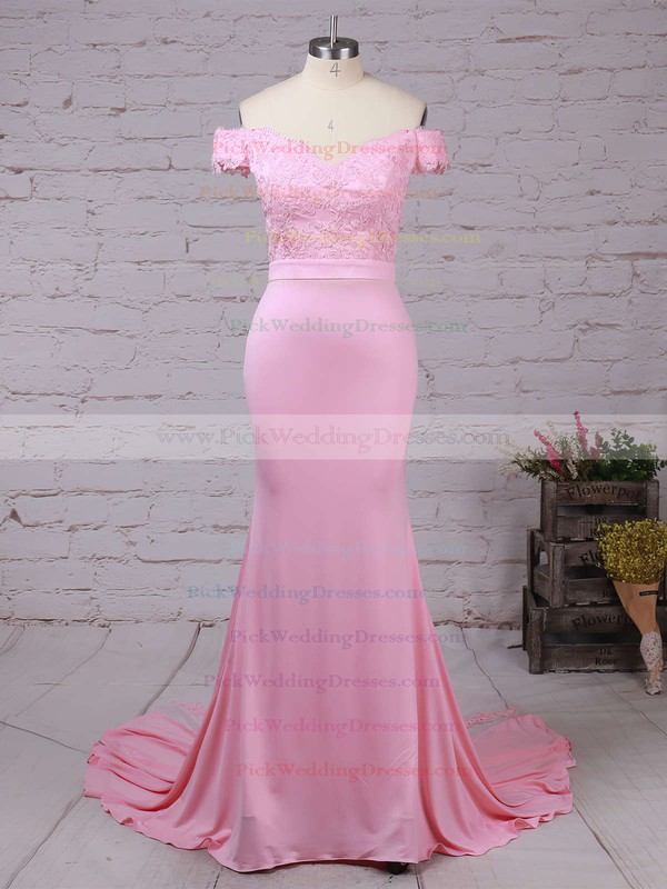 Trumpet/Mermaid Off-the-shoulder Tulle Silk-like Satin Sweep Train with Sashes / Ribbons Bridesmaid Dresses #PWD010020104517