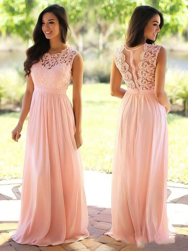 Affordable A-line Scoop Neck Lace Chiffon Floor-length Bridesmaid Dresses #PWD010020104579