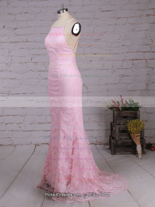 Sheath/Column Scoop Neck Lace Sweep Train Lace Bridesmaid Dresses #PWD010020104813