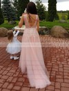 A-line V-neck Tulle Sweep Train Appliques Lace Bridesmaid Dresses #PWD010020105330