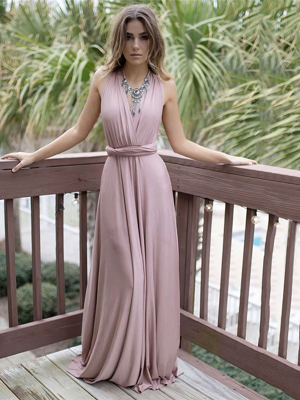 A-line V-neck Satin Chiffon Sweep Train Sashes / Ribbons Bridesmaid Dresses #PWD010020105349