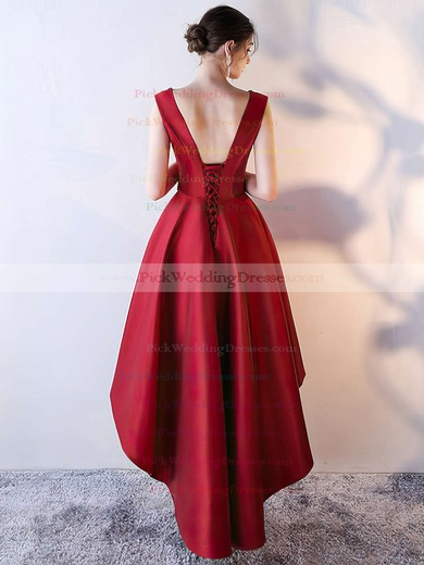 A-line V-neck Satin Asymmetrical Beading Bridesmaid Dresses #PWD010020105372