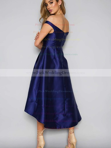 A-line Off-the-shoulder Satin Asymmetrical Pockets Bridesmaid Dresses #PWD010020105378