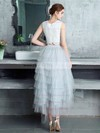 A-line Scoop Neck Lace Tulle Asymmetrical Tiered Bridesmaid Dresses #PWD010020105394