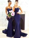Trumpet/Mermaid Sweetheart Tulle Silk-like Satin Sweep Train Appliques Lace Bridesmaid Dresses #PWD010020105493