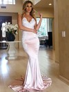 Trumpet/Mermaid V-neck Silk-like Satin Sweep Train Appliques Lace Bridesmaid Dresses #PWD010020105512