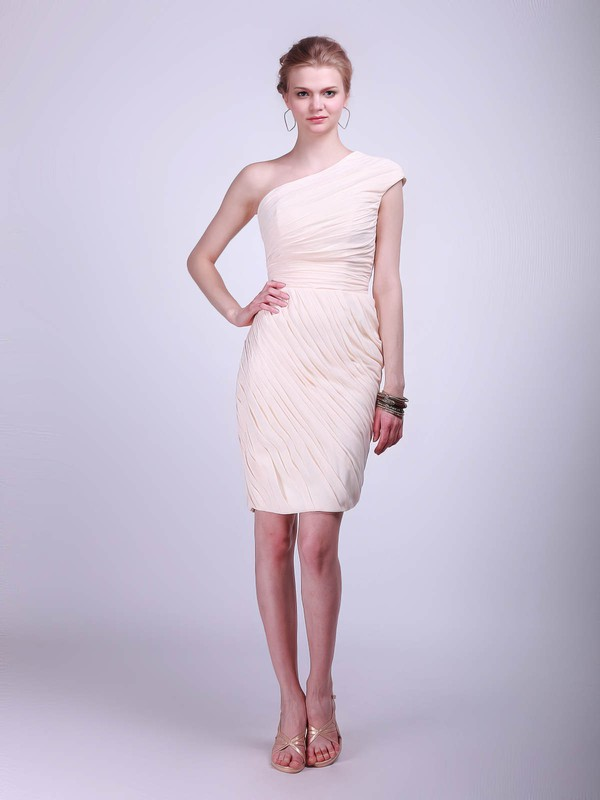 Sheath/Column Knee-length Chiffon Pleats One Shoulder Bridesmaid Dresses #PWD02013681