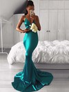 Trumpet/Mermaid V-neck Silk-like Satin Sweep Train Bridesmaid Dresses #PWD010020105513