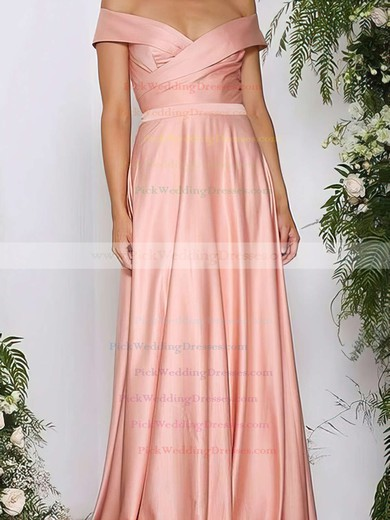 A-line Off-the-shoulder Silk-like Satin Sweep Train Ruffles Bridesmaid Dresses #PWD010020105737