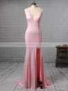 Trumpet/Mermaid V-neck Jersey Sweep Train Split Front Bridesmaid Dresses #PWD010020105765