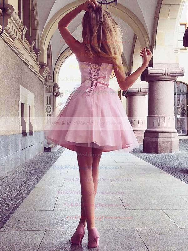 A-line Sweetheart Satin Short/Mini Ruffles Bridesmaid Dresses #PWD010020105931