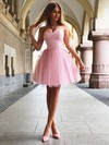 A-line Sweetheart Satin Short/Mini Ruffles Bridesmaid Dresses #PWD010020105931