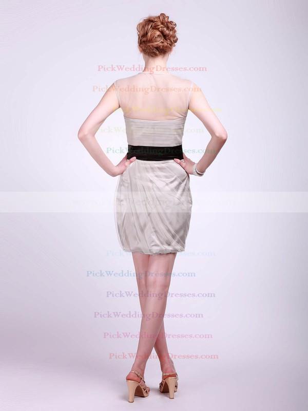 Sheath/Column Short/Mini Tulle Sashes/Ribbons High Neck Bridesmaid Dresses #PWD02013682