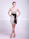 Sheath/Column Short/Mini Tulle Sashes/Ribbons High Neck Bridesmaid Dresses #PWD02013682