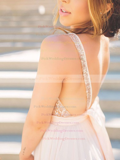 Ball Gown V-neck Tulle Sequined Sweep Train Sashes / Ribbons Bridesmaid Dresses #PWD010020106039