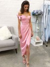 Sheath/Column Off-the-shoulder Silk-like Satin Tea-length Bow Bridesmaid Dresses #PWD010020106087