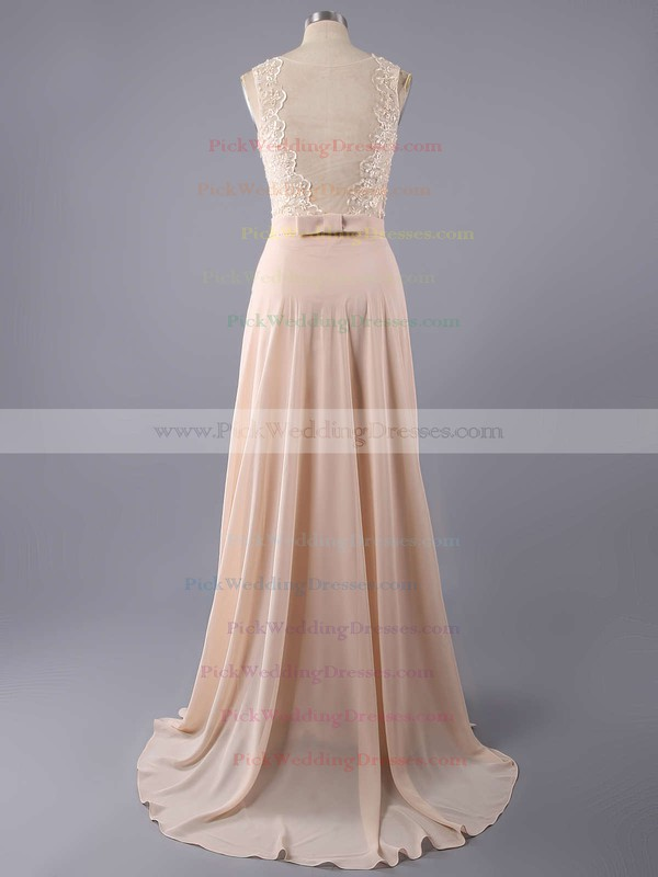 A-line Bateau Chiffon Floor-length Lace Bridesmaid Dresses #PWD01002014904