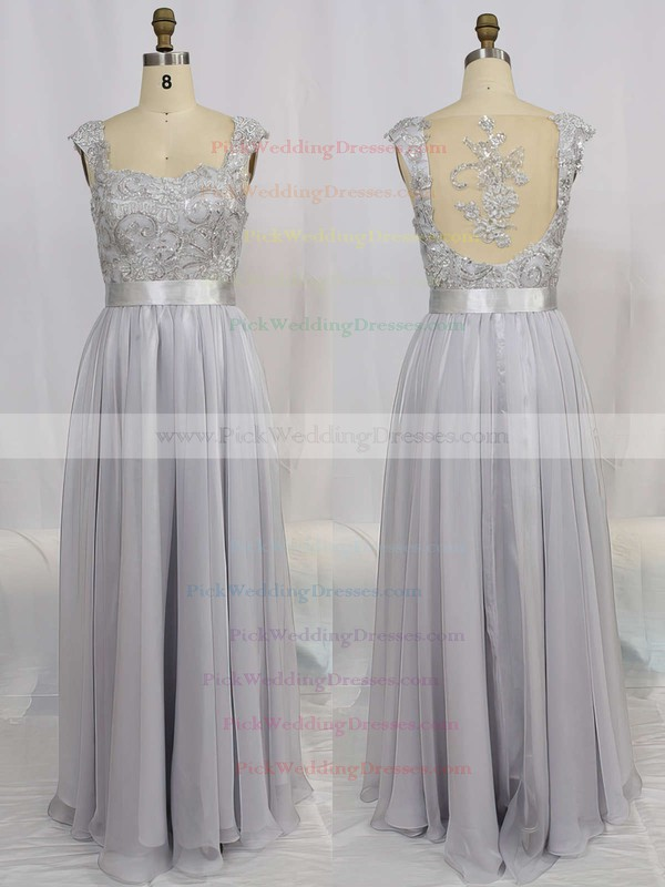 A-line Straps Chiffon Floor-length Appliques Bridesmaid Dresses #PWD01002015284