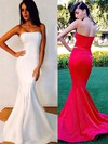 Trumpet/Mermaid Strapless Silk-like Satin Sweep Train Ruffles Bridesmaid Dresses #PWD01002016264