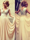 Champagne V-neck Sequined and Chiffon Pleats Inexpensive Bridesmaid Dresses #PWD01002016329