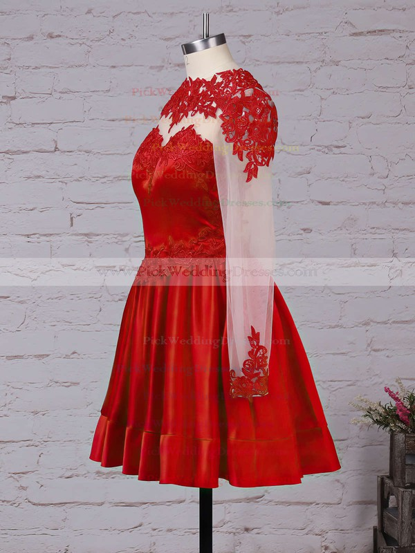 Gorgeous Elastic Woven Satin Tulle Appliques Lace Burgundy Short/Mini Long Sleeve Bridesmaid Dresses #PWD01002016430