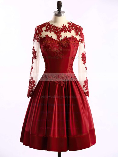 Gorgeous Elastic Woven Satin Tulle Appliques Lace Burgundy Short/Mini Long Sleeve Bridesmaid Dresses #PWD01002016430
