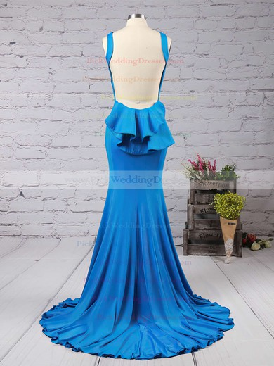 Trumpet/Mermaid Scoop Neck Jersey Sweep Train Ruffles Bridesmaid Dresses #PWD01002016910