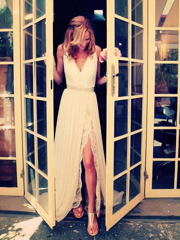 A-line V-neck Chiffon Sweep Train Lace Bridesmaid Dresses #PWD01002018761