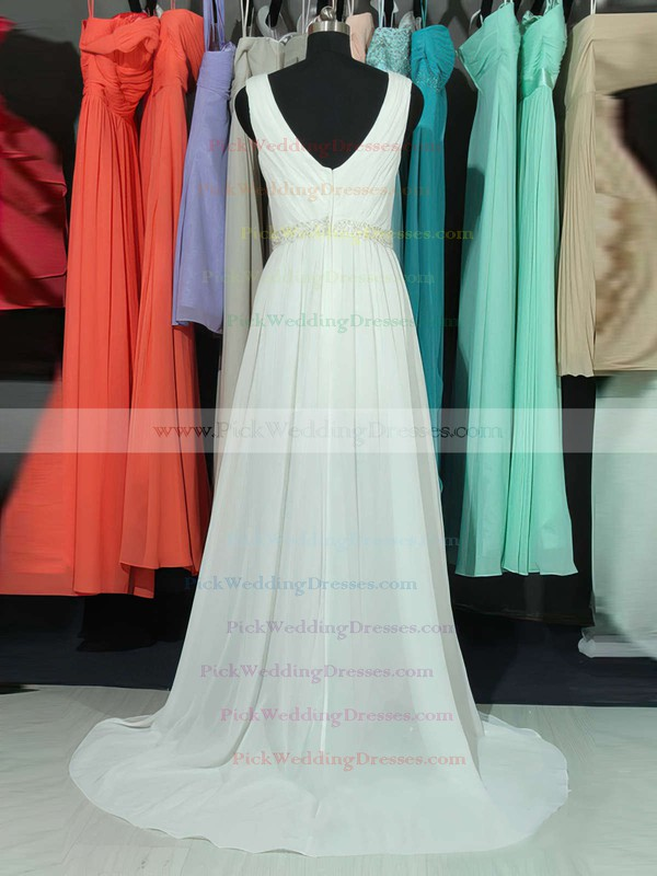 A-line V-neck Chiffon Sweep Train Lace Bridesmaid Dresses #PWD01002018761
