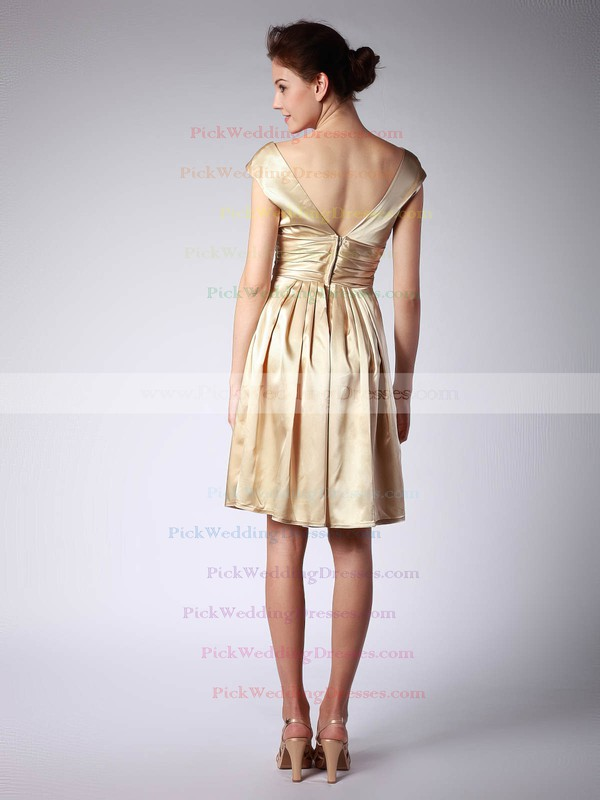 A-line Knee-length Satin Pleats V-neck Bridesmaid Dresses #PWD02013684
