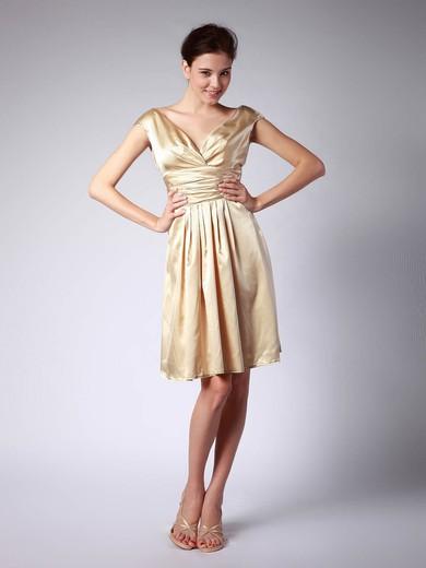 A-line Knee-length Satin Pleats V-neck Bridesmaid Dresses #PWD02013684