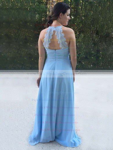Chiffon Halter Sweep Train A-line Lace Bridesmaid Dresses #PWD01013730