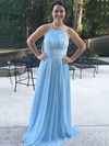 Chiffon Halter Sweep Train A-line Lace Bridesmaid Dresses #PWD01013730
