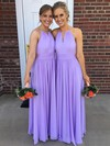 Chiffon Halter Floor-length A-line Ruffles Bridesmaid Dresses #PWD01013731