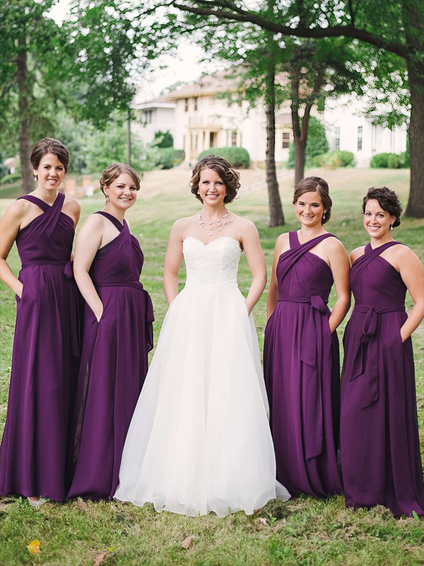 Chiffon V-neck Floor-length A-line Sashes / Ribbons Bridesmaid Dresses #PWD01013747