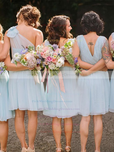 Chiffon V-neck Knee-length A-line Lace Bridesmaid Dresses #PWD01013748