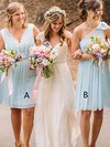 Chiffon V-neck Knee-length A-line Lace Bridesmaid Dresses #PWD01013748
