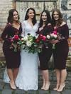 Silk-like Satin V-neck Knee-length Sheath/Column Bridesmaid Dresses #PWD01013750