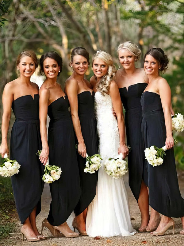 Chiffon Strapless Asymmetrical A-line Split Front Bridesmaid Dresses #PWD01013752