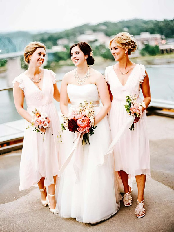 Chiffon V-neck Tea-length A-line Ruffles Bridesmaid Dresses #PWD01013754