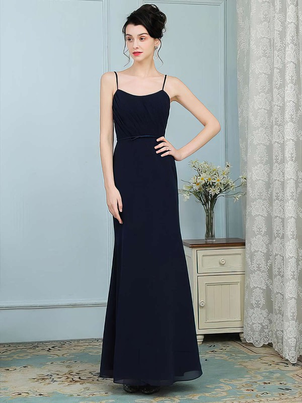Chiffon Scoop Neck Floor-length Trumpet/Mermaid Sashes / Ribbons Bridesmaid Dresses #PWD01013756