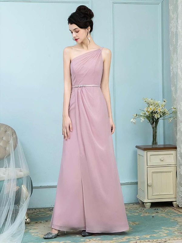 Chiffon One Shoulder Floor-length Sheath/Column Sashes / Ribbons Bridesmaid Dresses #PWD01013757