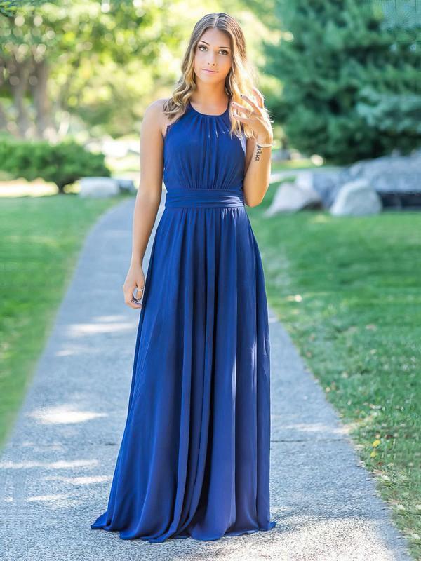 Chiffon Halter Floor-length A-line Lace Bridesmaid Dresses #PWD01013758